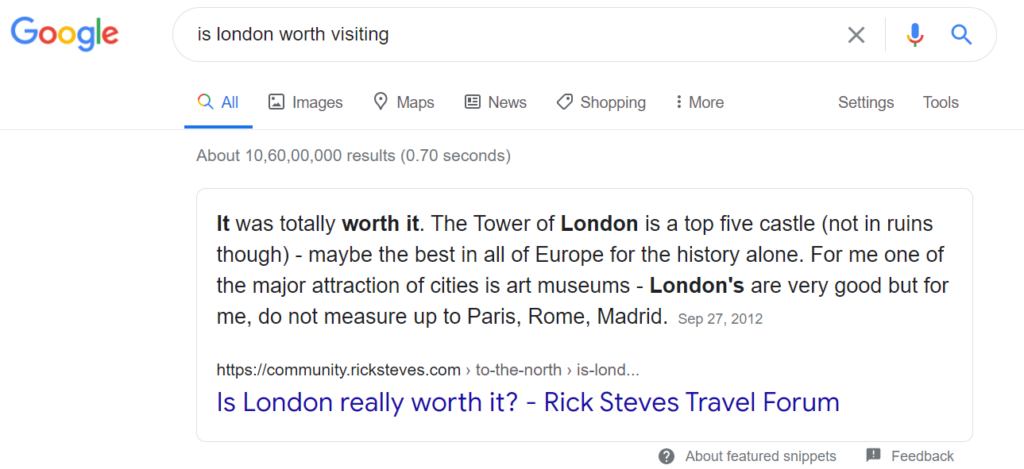featured snippets example 3