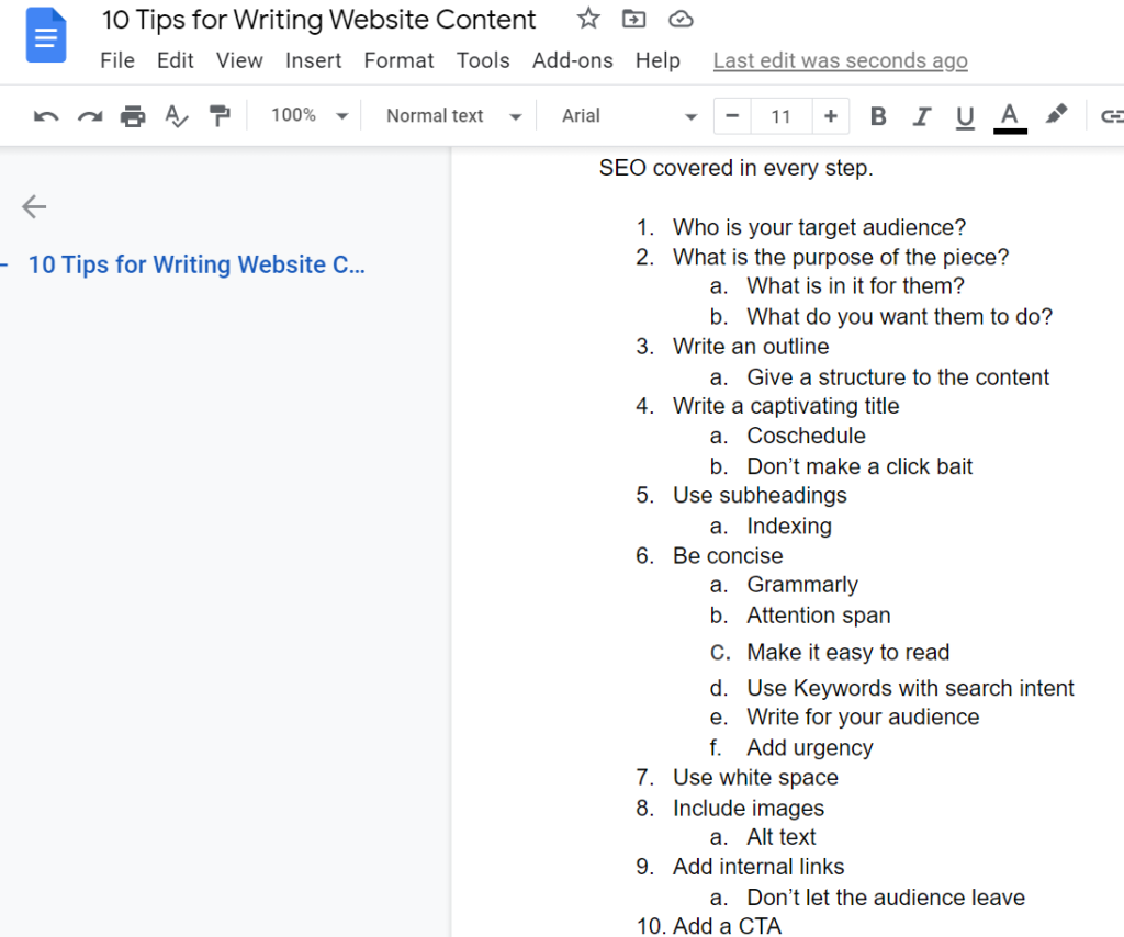 Tips for Web Writing