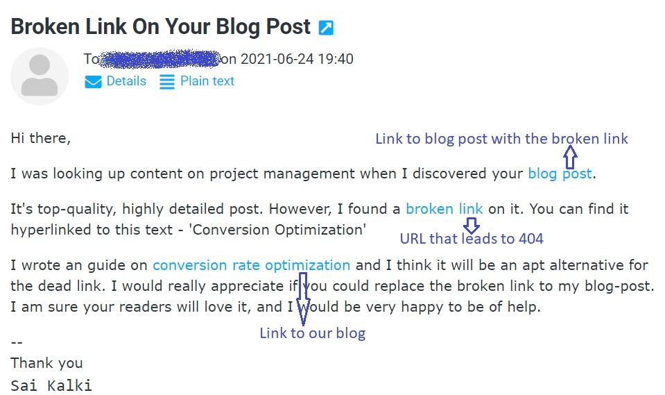 Email template for Broken link building method for new websites